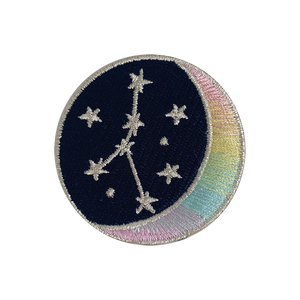 CANCER Zodiac Patch - Star Sign Constellation - Crescent Moon - Embroidered Iron On Patch Patches for Jacket Jackets Flair - Night Sky Pastel Ombre - Wildflower Co DIY FLOAT