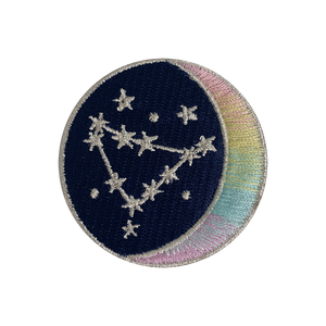 CAPRICORN Zodiac Patch - Star Sign Constellation - Crescent Moon - Embroidered Iron On Patch Patches for Jacket Jackets Flair - Night Sky Pastel Ombre - Wildflower Co DIY FLOAT