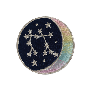 GEMINI Zodiac Patch - Star Sign Constellation - Crescent Moon - Embroidered Iron On Patch Patches for Jacket Jackets Flair - Night Sky Pastel Ombre - Wildflower Co DIY FLOAT