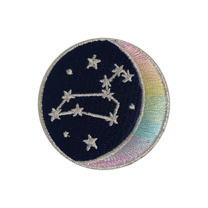 LEO Zodiac Patch - Star Sign Constellation - Crescent Moon - Embroidered Iron On Patch Patches for Jacket Jackets Flair - Night Sky Pastel Ombre - Wildflower Co DIY FLOAT