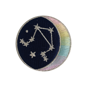 LIBRA Zodiac Patch - Star Sign Constellation - Crescent Moon - Embroidered Iron On Patch Patches for Jacket Jackets Flair - Night Sky Pastel Ombre - Wildflower Co DIY FLOAT