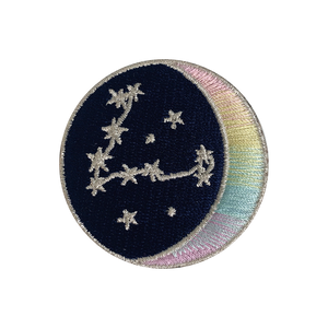 PISCES Zodiac Patch - Star Sign Constellation - Crescent Moon - Embroidered Iron On Patch Patches for Jacket Jackets Flair - Night Sky Pastel Ombre - Wildflower Co DIY FLOAT