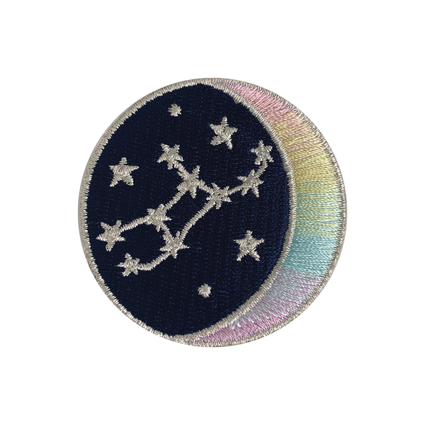 VIRGO Zodiac Patch - Star Sign Constellation - Crescent Moon - Embroidered Iron On Patch Patches for Jacket Jackets Flair - Night Sky Pastel Ombre - Wildflower Co DIY