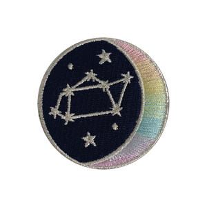 SAGITTARIUS Zodiac Patch - Star Sign Constellation - Crescent Moon - Embroidered Iron On Patch Patches for Jacket Jackets Flair - Night Sky Pastel Ombre - Wildflower Co DIY