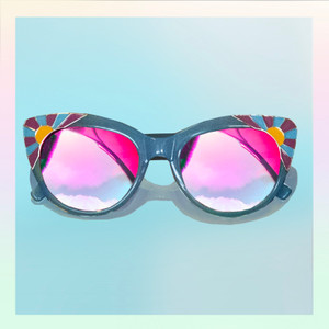 Blue Cat Eye Sunglasses - Enamel Sunrise Detail - Acetate - Cute Sunglasses - Fun Sunglassses - Front Flat