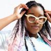 Blue Cat Eye Sunglasses - Enamel Sunrise Detail - Acetate - Cute Sunglasses - Fun Sunglassses - Front Flat