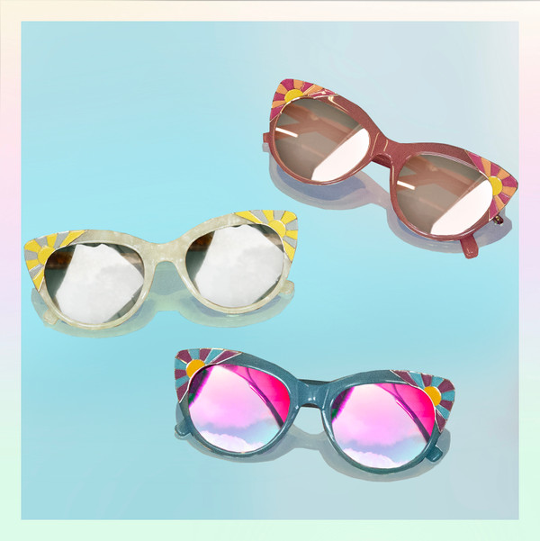 Cat Eye Sunglasses Sunnies Fun Cute Enamel Temple Details Sunrise - PEARL WHITE - On Model - Wildflower   Co  (15)