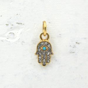 Dainty Gold Pave Hamsa Charm Pendant - DIY Pave Hamsa Necklace - Bracelet - Hand - Lady of Fatima - Evil Eye - Wildflower + Co.