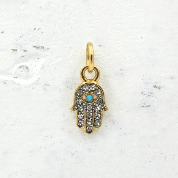 Dainty Gold Pave Hamsa Charm Pendant - DIY Pave Hamsa Necklace - Bracelet - Hand - Lady of Fatima - Evil Eye - Wildflower + Co.