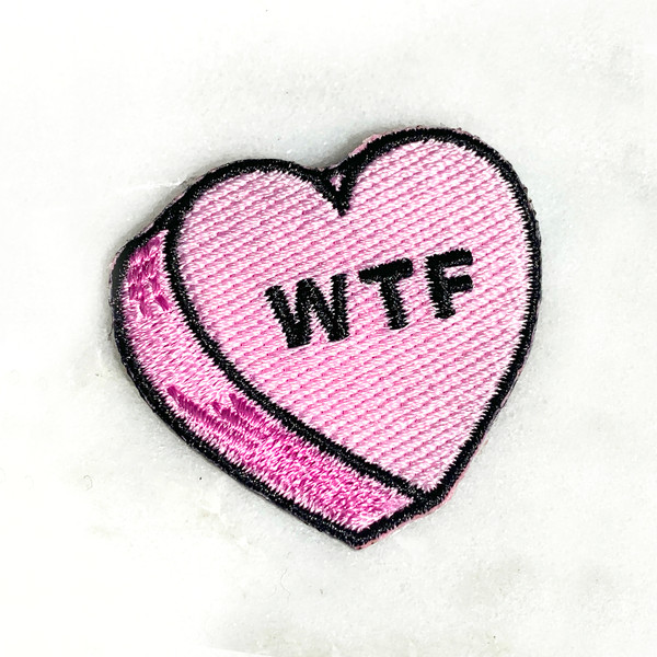 WTF Heart Patch - PASTEL LILAC - Candy Heart Conversational Heart - Iron On Patch for Jackets Patches Embroidered Applique - Pastel - Wildflower + Co. DIY (14)