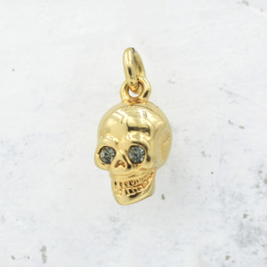 JW00027 Skull Charm Pendant - Gold - Black Diamond - Wildflower.Co - Main