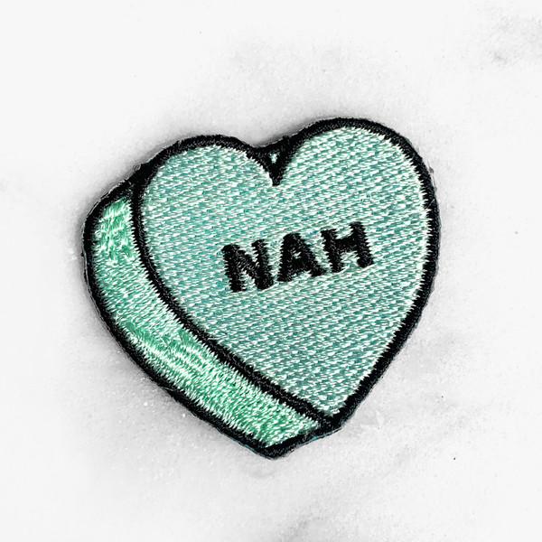 NAH Heart Patch - PASTEL MINT - Candy Heart Conversational Heart - Iron On Patch for Jackets Patches Embroidered Applique - Pastel - Wildflower + Co. DIY (9)