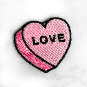 LOVE Heart Patch - PASTEL PINK - Candy Heart Conversational Heart - Iron On Patch for Jackets Patches Embroidered Applique - Pastel - Wildflower + Co. DIY (11)