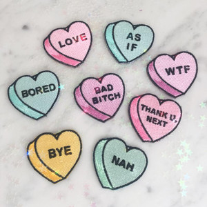 Candy Heart Patch - Love Nah As If WTF Thank U  Next Nah Bad Bitch Bored Bye Pastel Pink Aqua Yellow Lilac Mint -  Iron On Patch for Jackets Patches Embroidered Applique - Pastel - Wildflower + Co.