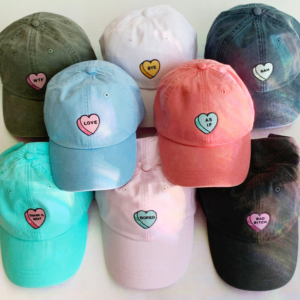 Candy Heart Basebal Hat - Love Nah As If WTF Thank U  Next Nah Bad Bitch Bored Bye Pastel Pink Aqua Yellow Lilac Mint - Wildflower + Co. Border