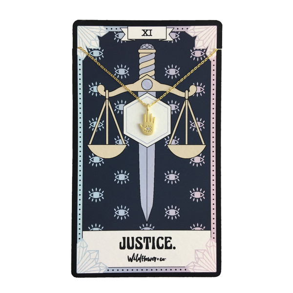 Justice Tarot Card Inspired Necklace - Hand - Dainty Delicate Everyday Necklace - Jewelry - Gift - Sterling Silver Gold - Wildflower + Co.