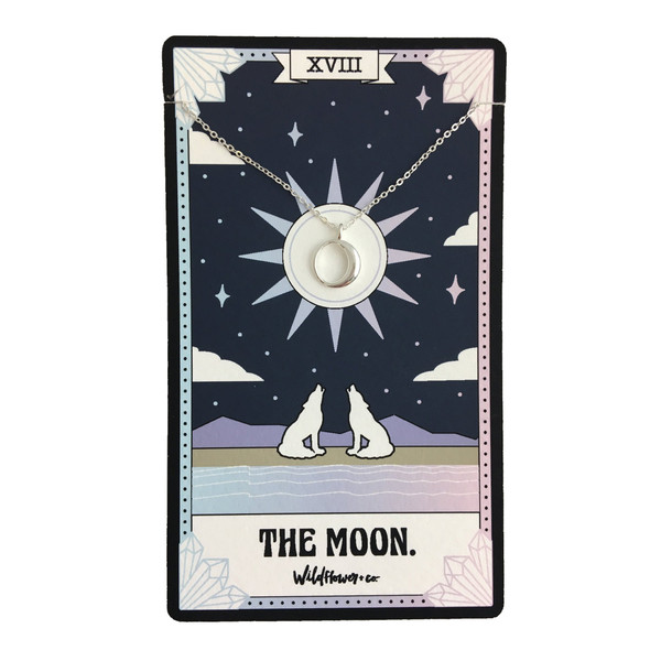 The Moon Tarot Card Inspired Necklace - Dainty Delicate Everyday Necklace - Jewelry - Gift - Sterling Silver Gold - Wildflower + Co.