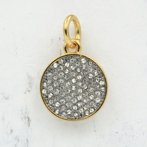 JW00029 Pave Medallion Disc Charm - Pendant - Gold - Wildflower.Co - Main