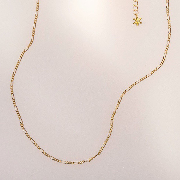 Figaro Chain Necklace - Choker Length - Gold - Wildflower + Co. Jewelry (1)