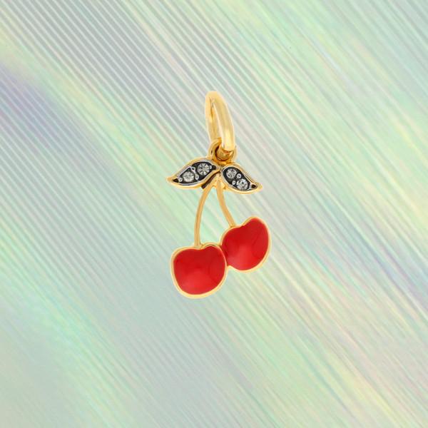 Cherry Charm - Red & Gold - Cute - Cherries Cherry Girl Cherry Bomb - Wildflower +Co. Custom Charm Jewelry Personalized Gifts (3)