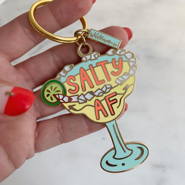 Salty AF Margarita Enamel Keychain Key Ring - Feminist - Wildflower + Co (2)