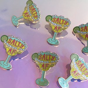 Salty AF Margarita Enamel Pin - Flair - Hard Enamel - Feminist - Wildflower + Co (1)