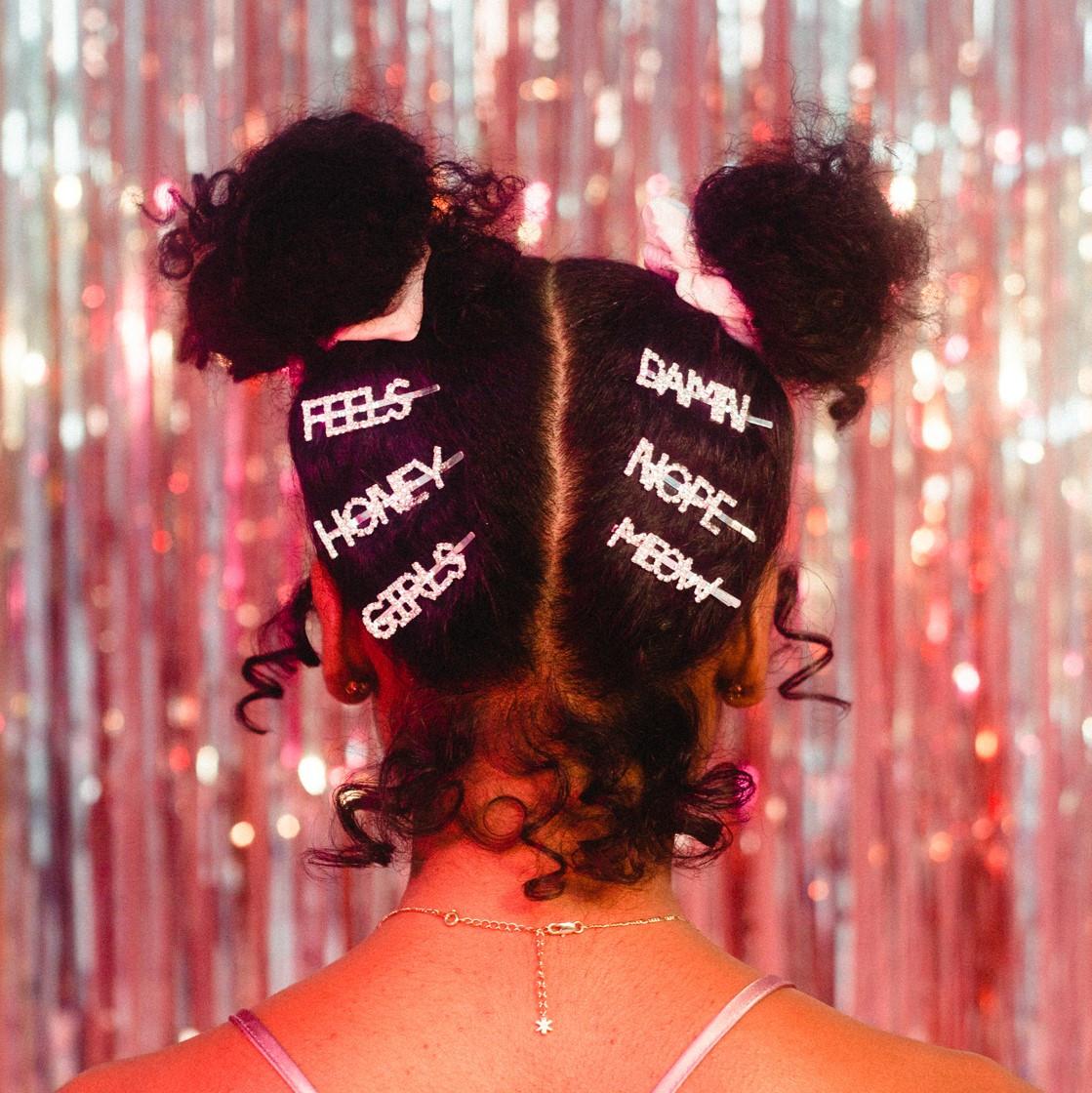 Hair Pin w Rhinestone Word LOVE Hair Accessory Mia Mane Statement Bobby Pin