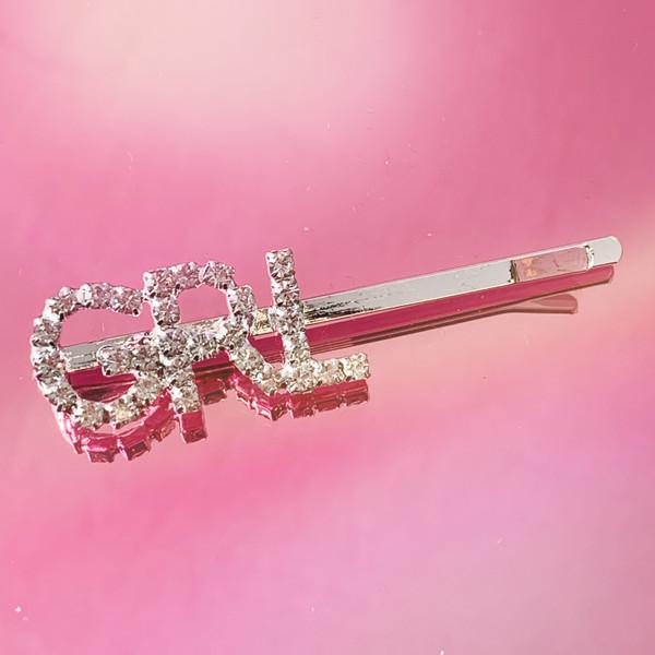 GRL CRYSTAL BOBBY PIN - HAIR ACCESSORY CLIP - RHINESTONE DIAMOND SILVER - GIRL POWER GRL PWR FEMINIST PUSSY POWER - SOFT GIRL - WILDFLOWER + CO.