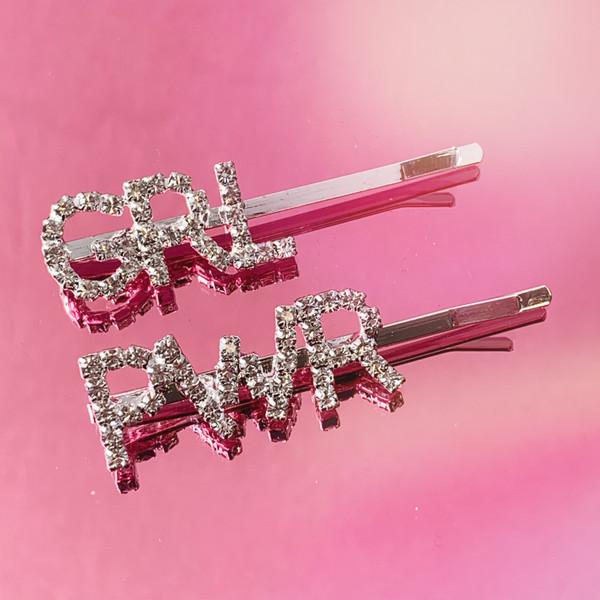 GRL PWR CRYSTAL BOBBY PIN - HAIR ACCESSORY CLIP - RHINESTONE DIAMOND SILVER - GIRL POWER GRL PWR FEMINIST PUSSY POWER - SOFT GIRL - WILDFLOWER + CO.