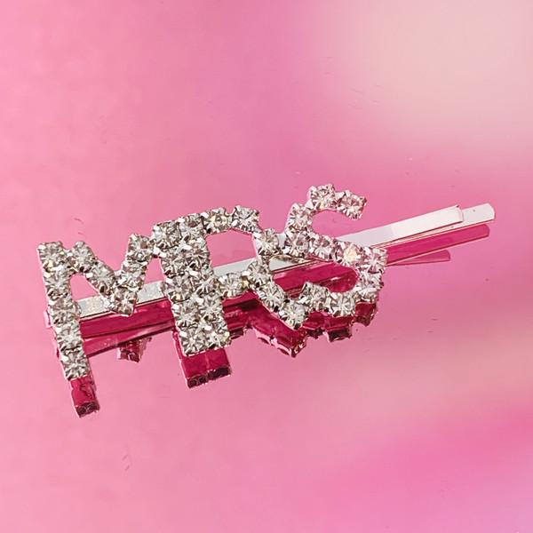 MRS CRYSTAL BOBBY PIN - BRIDAL BRIDE HAIR ACCESSORY CLIP - RHINESTONE DIAMOND SILVER - WEDDING BRIDAL SHOWER BACHELORETTE PARTY REHEARSAL DINNER - WILDFLOWER + CO. (2)