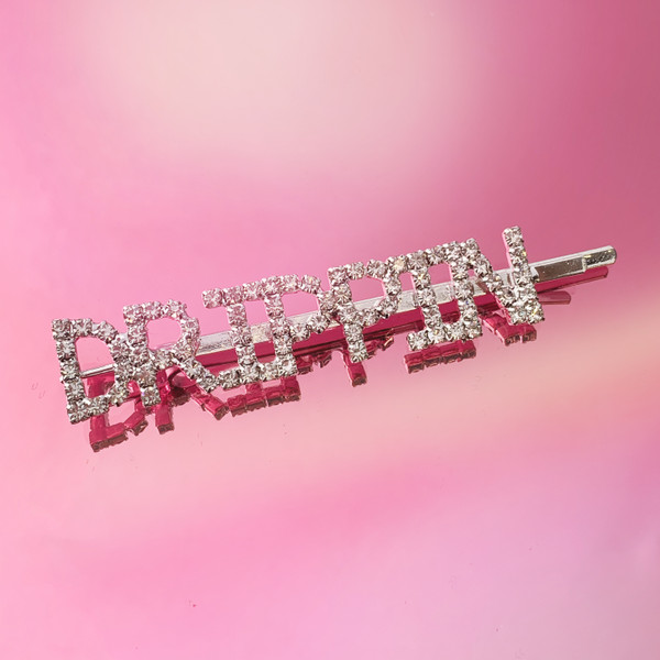 DRIPPIN CRYSTAL BOBBY PIN - HAIR ACCESSORY CLIP - RHINESTONE DIAMOND SILVER - BAD BITCH - GIRL POWER FEMINIST - SOFT GIRL - HYPEBEAST - WILDFLOWER + CO.