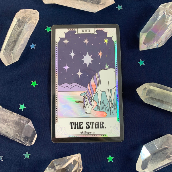 PC00052-HOL-OS Tarot Card Sticker - Holographic Vinyl - THE STAR - Wildflower + Co. Stickers (3)