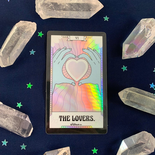 PC00053-HOL-OS Tarot Card Sticker - Holographic Vinyl - The Lovers - Wildflower + Co. Stickers (5)