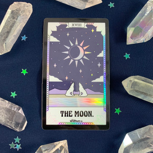 PC00051-HOL-OS Tarot Card Sticker - Holographic Vinyl - The Moon - Wildflower + Co. Stickers (2)