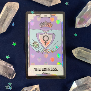 PC00054-HOL-OS Tarot Card Sticker - Holographic Vinyl - The Empress - Venus Symbol Feminist - Wildflower + Co. Stickers (2)