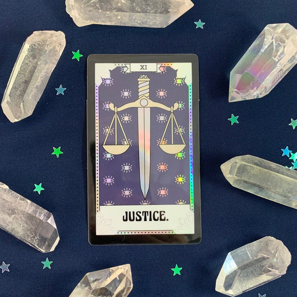 PC00055-HOL-OS Tarot Card Sticker - Holographic Vinyl - JUSTICE - Wildflower + Co. Stickers (3)