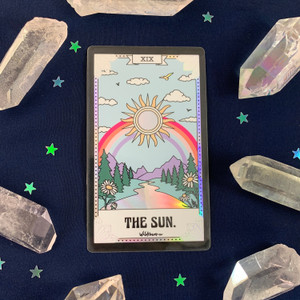 PC00056-HOL-OS Tarot Card Sticker - Holographic Vinyl - The Sun - Wildflower + Co. Stickers (2)
