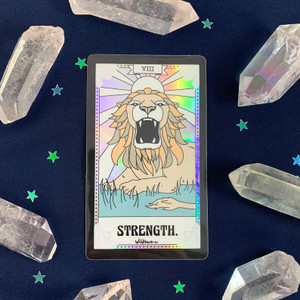 PC00057-HOL-OS Tarot Card Sticker - Holographic Vinyl - Strength - Lion Brave Fearless - Wildflower + Co. Stickers (2)