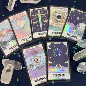 PC00058-HOL-OS Tarot Card Sticker - Holographic Vinyl - The Moon The Lovers The Empress The Star The Sun Strength Justice - Wildflower + Co. Stickers