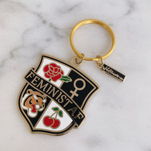 Feminist AF Crest Keychain - Enamel & Gold - Pink Black Navy - Venus Symbol Cherry Tiger Rose - Key Ring (2)