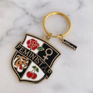 Feminist AF Crest Keychain - Enamel & Gold - Pink Black Navy - Venus Symbol Cherry Tiger Rose - Key Ring (2)