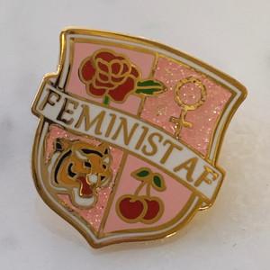 Feminist AF Crest Enamel Pin, Pink & Gold