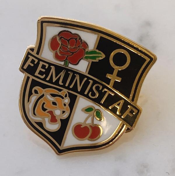 Feminist AF Crest Enamel Pin - Flair - Hard Enamel - Pink Black Navy Gold - Venus Symbol Cherry Tiger Rose - On Jean Jacket (1)