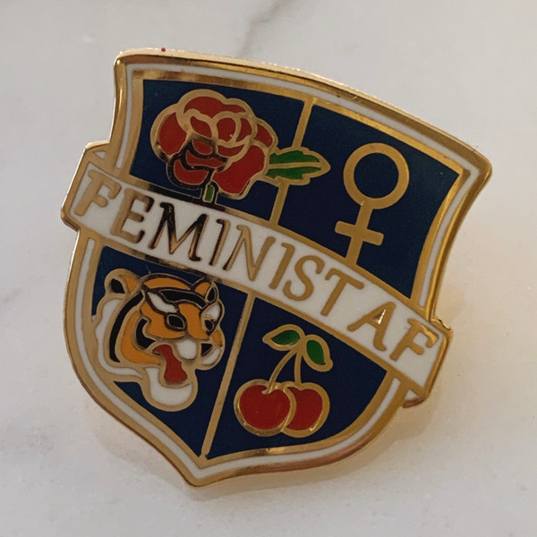 Feminist AF Crest Enamel Pin - Flair - Hard Enamel - Pink Black Navy Gold - Venus Symbol Cherry Tiger Rose - On Jean Jacket (1)