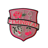 TR00328-PNK-OS - Feminist AF Crest Patch - Medium -Pink - Embroidered Iron On - Wildflower + Co. DIY