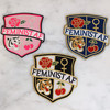 Feminist AF Crest Patch - Embroidered Iron On Patches for Jackets - Pink Black Checkerboard Navy - Wildflower + Co. DIY (1)