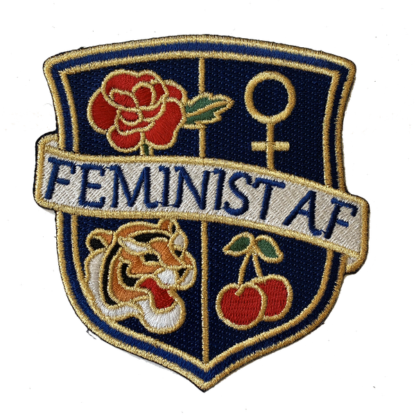 TR00328-NVY-OS - Feminist AF Crest Patch - Embroidered Iron On - MEDIUM - NAVY - Wildflower + Co. DIY - Float