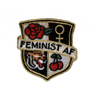 TR00327-BLK-OS - Feminist AF Crest Patch Embroidered Iron On - Black White Checkerboard - WildflowerCo.DIY