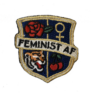 TR00327-NVY-OS - Feminist AF Crest Patch - Embroidered Iron On - Navy Blue- Wildflower + Co. DIY