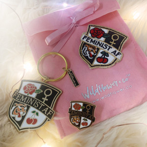 Feminist AF Bundle - Pin Keychain Patch - Wildflower + Co - Black Navy Pink Glitter Gold (1)
